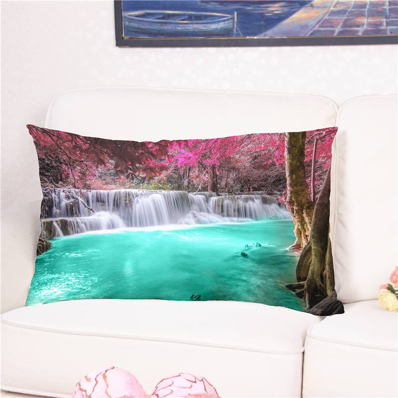 Fashion Beautiful 3D Landscape Painting Printed Cushion Cover Multicolor Pillow Case for Sofa Bed Dekorative Kissen 50*75cm