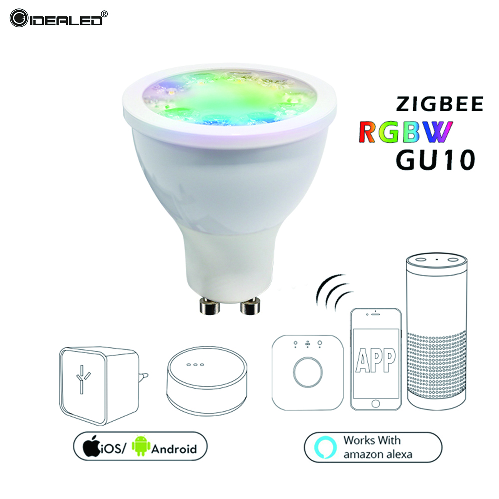 Smart LED Bulb RGBW GU10 Spotlight Dimmer bulb Work with Amazon Alexa Google Home Smart voice Control zigbee zll link Hue APP home smart zigbee strip controller work with amazon alexa voice control waterproof rgb strip light hue wireless controller