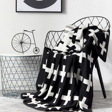 Pink Chair Knitted Blanket Blue Gray Black Crochet Plaids Baby Blankets Sofa Bed Cross Pattern Children Portable Cobertor Throw black pink bicycle pattern crochet cartoon soft knitted blanket throw for girls children on bed sofa couch kids christmas gift