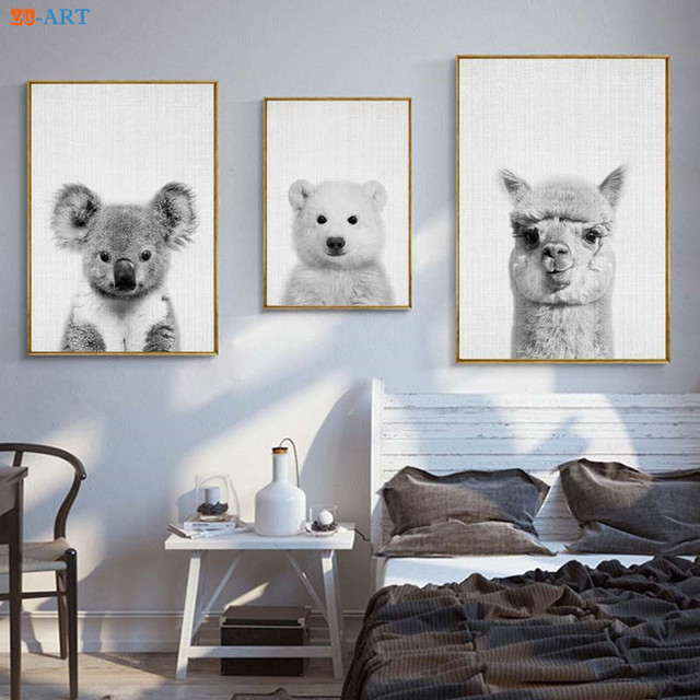Koala Alpaca Polar Bear Prints Nursery Animal Decor Wall Art Modern ...
