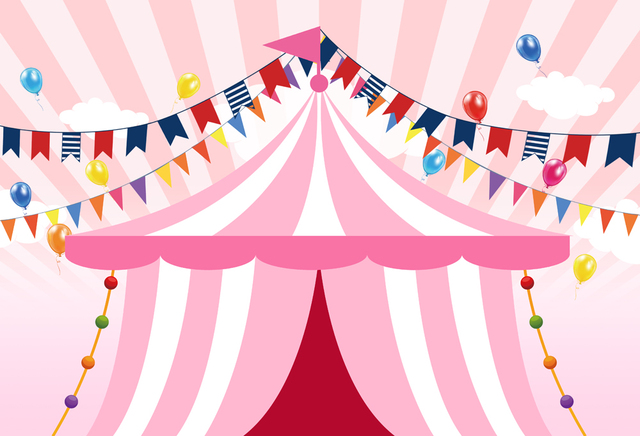 birthday carnival photography backdrop pink tent circus party banner
