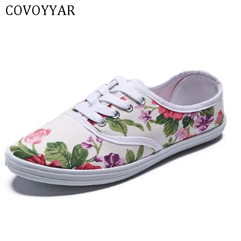 COVOYYAR Floral Women Shoes 2018 Print Canvas Flat Casual Shoes Lace Up Refreshing Female Footwear Trainers Walking Shoes WSN212 e lov women casual walking shoes graffiti aries horoscope canvas shoe low top flat oxford shoes for couples lovers