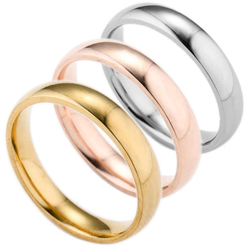 2018 נירוסטה אצבע טבעת לגברים רוז זהב טבעות נשים כסף מצופה טבעת נשים חתונת תכשיטי זוג טבעות מתנות