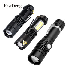 LED Flashlight 2000LM Q5 Mini LED Flashlight COB Torch AA 14500 Adjustable Zoom Focus Torch USB T6 Flash Light 18650 Penlight cheap FastDeng Shock Resistant Hard Light 200-500 m 2-4 files 5w 10w Black ROHS High Middle Low Aluminum Rechargeable Flashlights