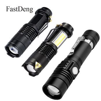 Latarka LED 2000 lm Q5 Mini latarka LED COB latarka AA 14500 regulowany zoom latarka z regulacją ostrości USB T6 latarka 18650 Penlight tanie i dobre opinie FastDeng 2-4 plików Aluminium Wysoka średnim niskie Odporny na wstrząsy Twarde Światło 5w 10w Akumulator led flashlight