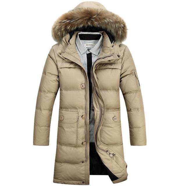 Homens Jaqueta de inverno 90% de Pato Branco Para Baixo Casacos Longos dos homens ocasional engrossar Quente Casaco Gola De Pele Para Baixo Casaco parka homme jaquetas