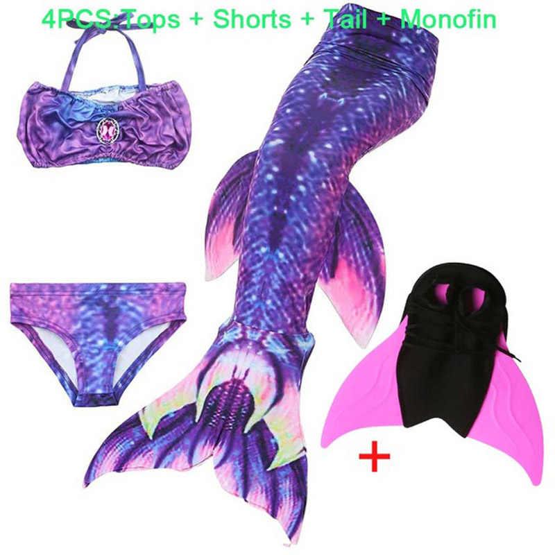 4 unids/set niños cola de sirena con aleta de Monofin niños niñas disfraces de natación sirena cola Flipper para niñas sirena traje de baño