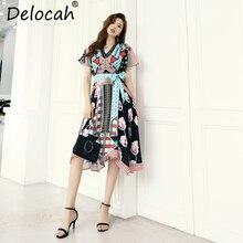 Delocah Women Spring Summer Vintage Dress Runway Fashion V-Neck Ruffle Bow Tie Floral Print Elegant Vacation Asymmetrical Dress bow tie neck ruffle sweater