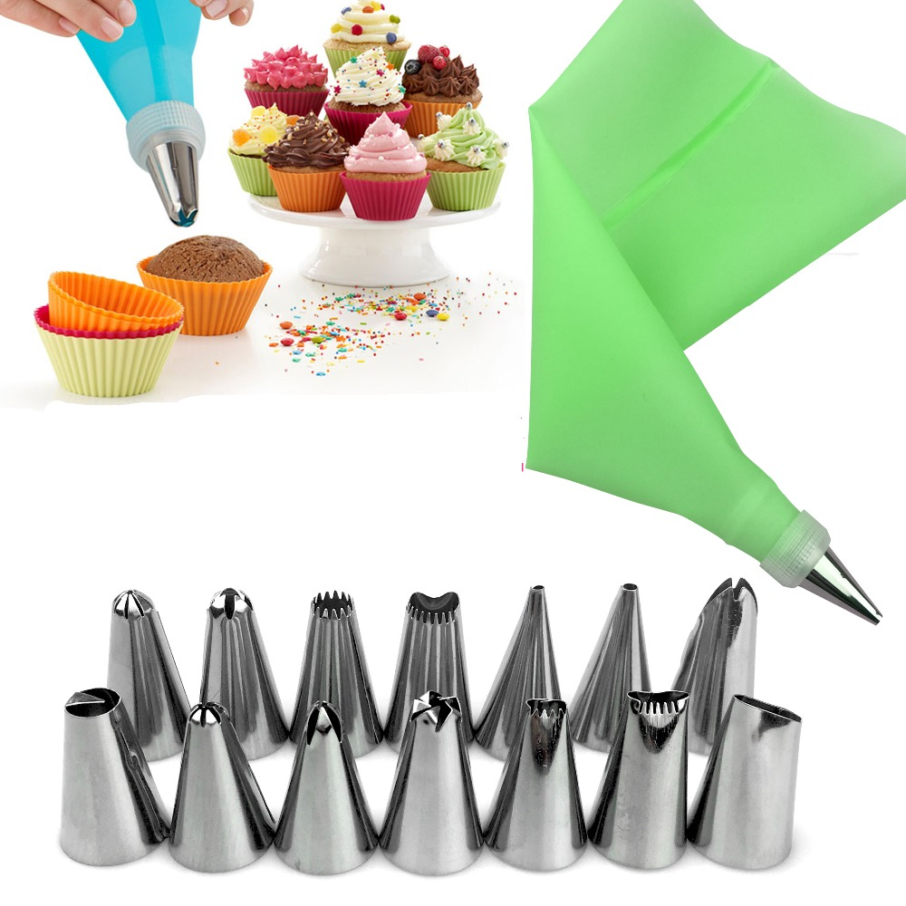 16PC Set DIY Kitchen Baking Cake Decorating Tool Silicone Icing Piping Cream Pastry Bag Stainless Steel Nozzle Converter in Dessert Decorators from Home Garden