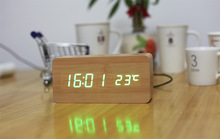 New wooden LED Alarm Clock,despertador Temperature Sounds Control LED display,electronic desktop Digital table clocks,SKU04A4A01