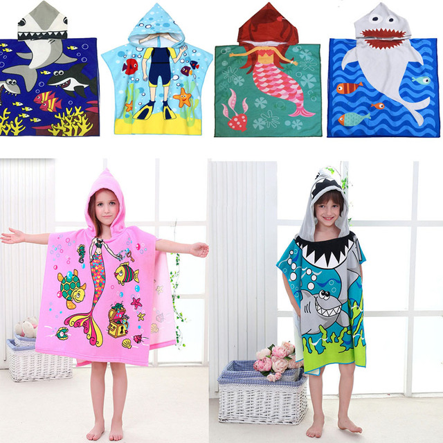 Милый детский плащ с капюшоном с изображением русалки и акулы; пляжное полотенце из микрофибры для мальчиков и девочек; детский купальный халат для малышей; одежда для сна