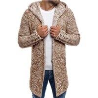Модный свитер для мужчин 2018, Новое поступление, Повседневный Кардиган для мужчин, с капюшоном, с воротником, однотонный, качественный, вязан...
