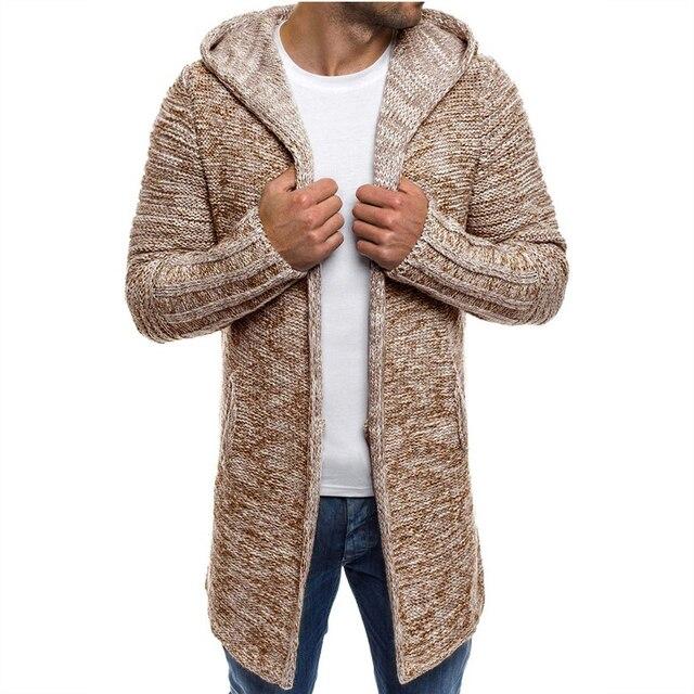 Moda suéter hombres 2018 nueva llegada Casual Cardigan hombres WinterHooded  cuello sólido calidad de punto marca 0c6899a405cd