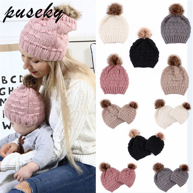 4ea4f8940 US $4.46 21% OFF|Puseky 2Pcs New Mom And Baby Hat Kids Winter Warm Raccoon  Fur Bobble Beanie Cotton Knitted Kids Children Mommy Headwear Hat Caps-in  ...