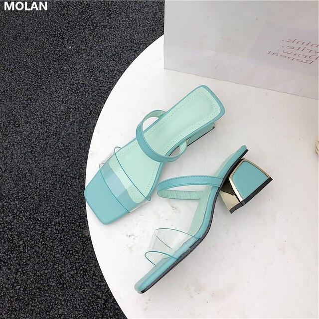 39ac339530 MOLAN los diseñadores marca 2019 de moda verano transparente banda estrecha  Plaza bombas tacones zapatos mujer resbalón en mocasines sandalias