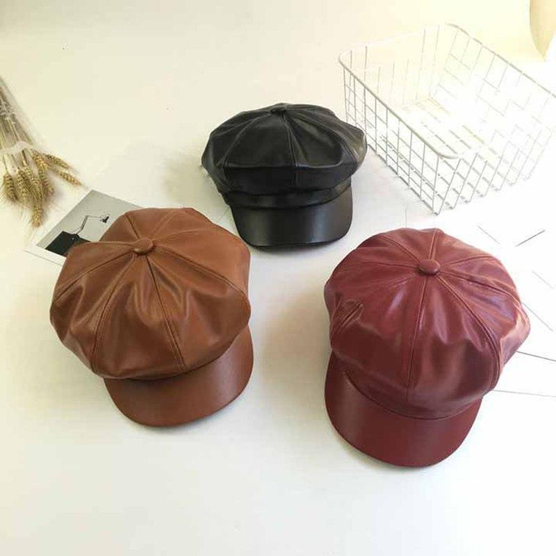 1 Stück Mode Herbst Winter Caps 3 Farben Männlich Weiblich Casual Vintage Einfarbig Pu Leder Achteckige Kappe