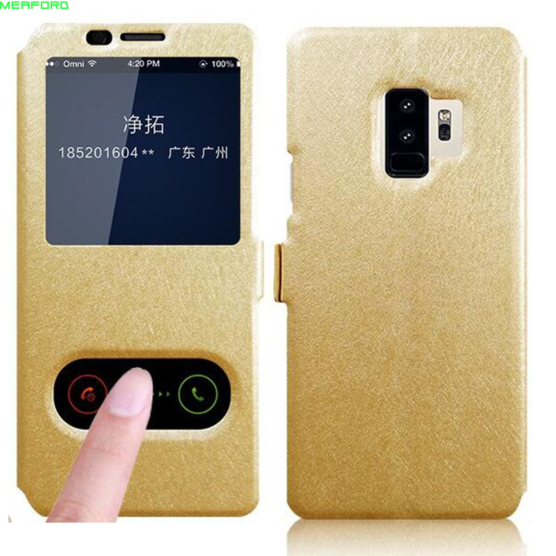 """5.6"""" case For Samsung Galaxy A6 2018 Case view window quick answer call leather cover For Samsung A6 2018 phone case flip stand"""