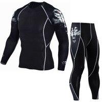Academias de Compressão Roupas Sets (Tops + L) As Tendências Das Camisas Das Camisetas Leggings de Fitness MMA Rashguard Ternos de Manga Longa Streetwear