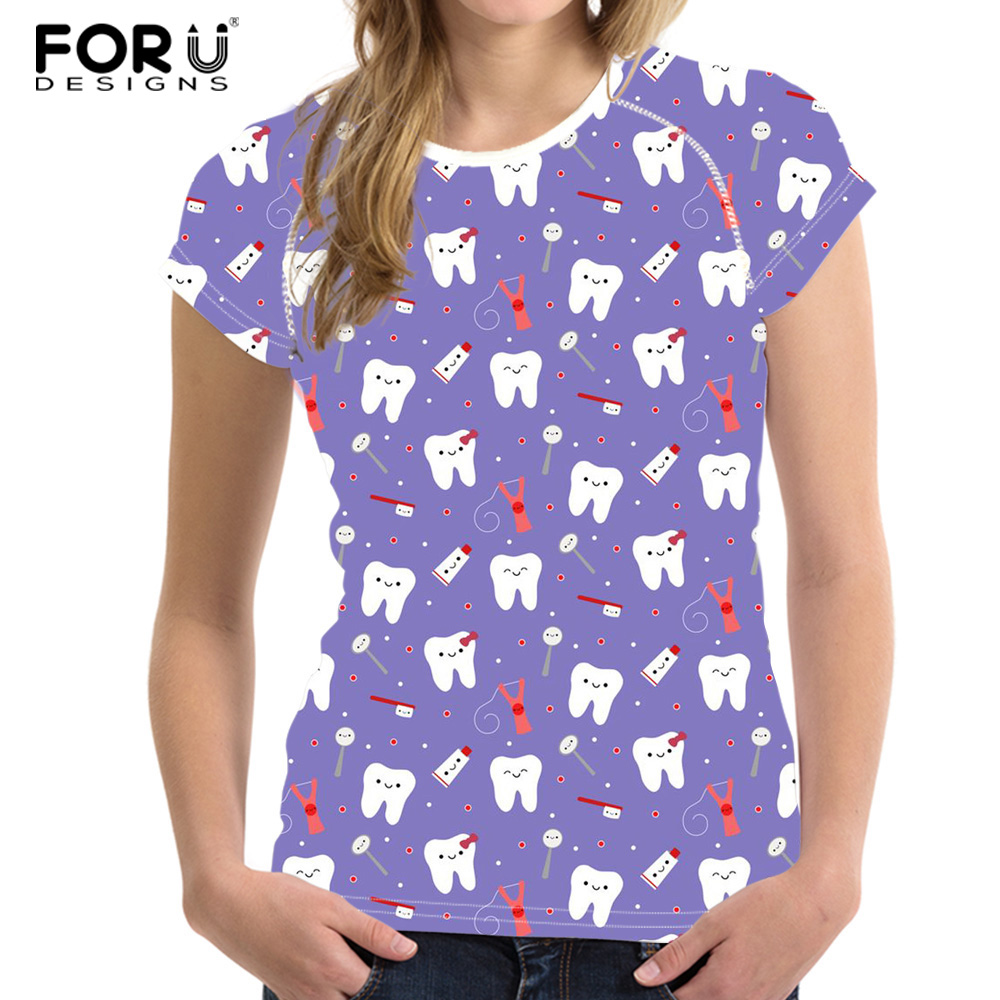 FORUDESIGNS Dental Tooth Patterm Summer Fashion T Shirt Women Basic T-shirts Female Casual Tops Short Sleeve Girls T-shirt