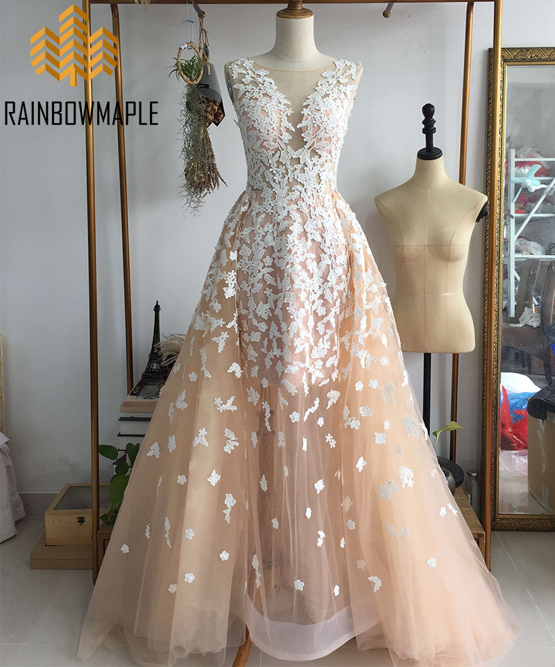 db77f75934 Designer Sleeveless Tulle Lace Appliques Long Prom Dresses Gorgeous Sheer Long  Champagne Evening Gowns Pageant Dresses For Women