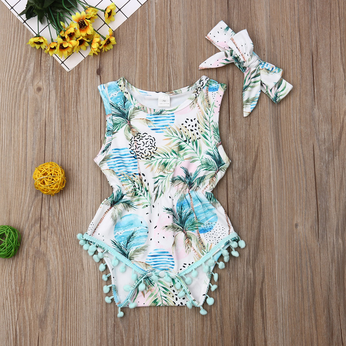 Pudcoco Newborn Baby Girl Clothes Sleeveless Print Tassel Romper Bowknot Headband 2Pcs Outfits Cotton Clothes Summer