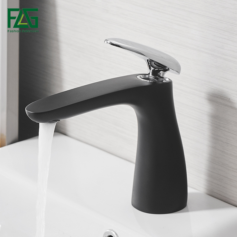 FLG new design basin faucets black and chrome handle style bathroom faucet high quality solid brass basin tap 709-11BC fashion europe style high quality brass