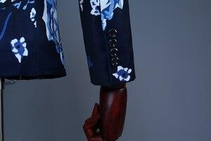 Image 4 - PYJTRL Brand Tide Men Plus Size Navy Blue Floral Print Fashion Casual Suits Latest Coat Pant Designs Wedding Groom Stage Costume