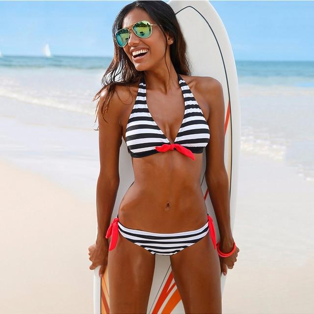 57102961b02c Summer beach hot sexy bikini swimsuit Black and white stripes bikini beach  swimwear backless Tied rope swimsuit Two-piece suit