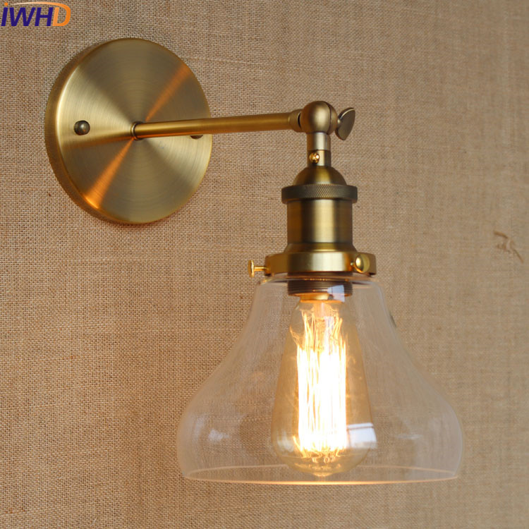 IWHD American Style Loft Industrial Vintage Wall Lamp Led Retro Adjustable Iron Wall Sconce Bedroom Living Room Beside arandela european style retro glass chandelier north village industrial study the living room bedroom living rough bar lamp loft