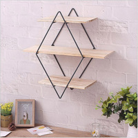 Nordic Minimalist Diamond Rack Wall Shelf Shelves MultiFunction Wall Decoration Creative Wooden Crafts Home Storage Organization