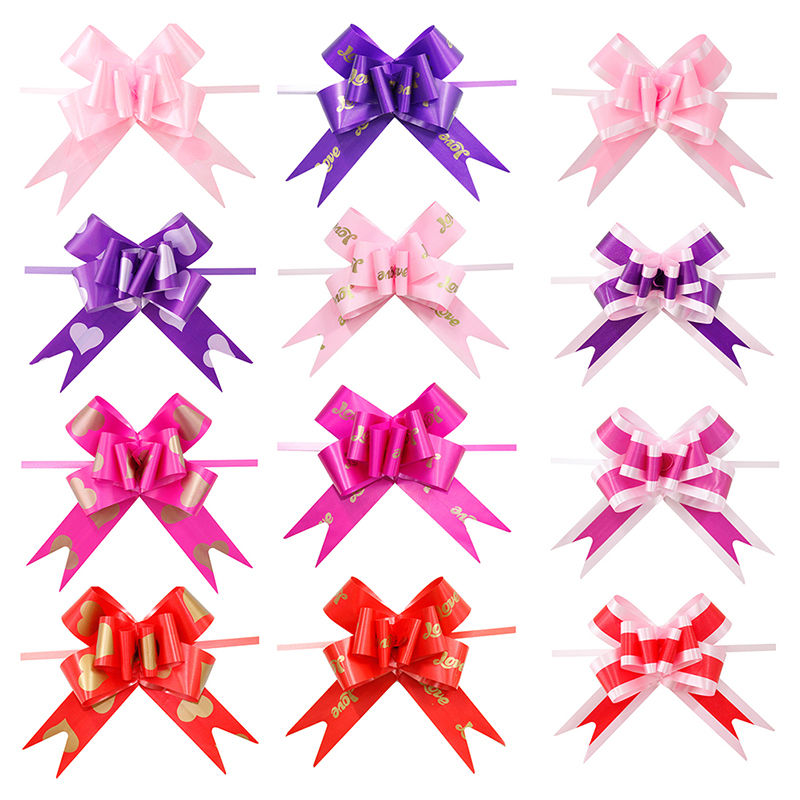 50 HEART PRINT PULL BOWS RIBBON ALL MIX  COLOURS  WEDDING CARS GIFT WRAP  FLOWER