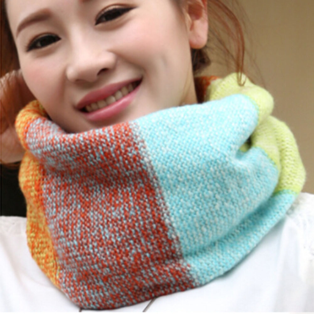 Spell Color Warm Knitted Scarf Women Neck Circle Long Scarf Shawl Wrap Plaid Scarf Mixed Color For Women