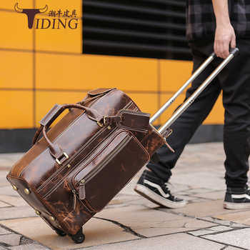 Men Travel Bag With Wheels Large Capacity 2019 Genuine Leather Man Fashion Casual Business Duffle Weekend Durable Tote Bags