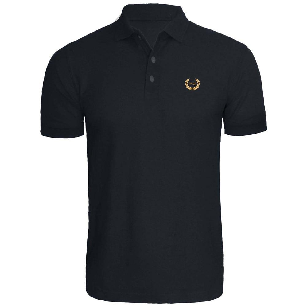 SPQR Roman Eagle Empire Caesar Wreath Oak Embroidery Embroidered   Polo   Shirts
