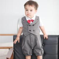 Baby Boys Clothes Sets Fake Two Piece Sling Romper+Vest Sets 2019 Spring Summer New Children Gentlemen Style Infant Romper Y762