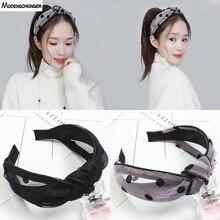 Women New Elastic Hair Hoop Polka Dot Mesh Knotted Bezel Headband Simple Wide Side Fashion Hairbands Retro Accessories