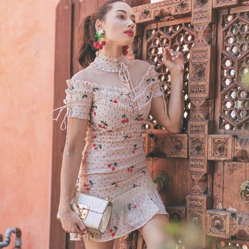 Hombro Verano Vestido Fiesta Volantes Vintage De Mujer Impresión Sexy Floral 2019 Mini Z7OZpzqw