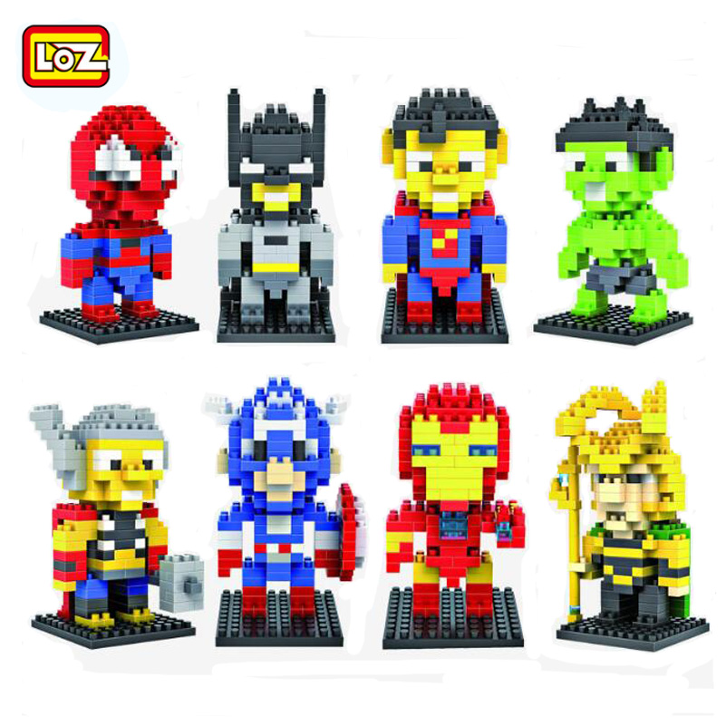 LOZ Diamond Blocks Toys Super Man Batman Super Hero Series Figures Compatible Building Blocks Set For Children Gifts 9152 super heroes batman the scuttler building blocks new year gift diy figures toys for children compatible lepins 3d model