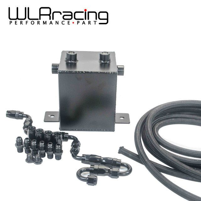 WLRING - 2L Aluminium Surge tank Full BLack  Fuel cell 2L Universal Complete Fuel Surge Tank 2L Swirl Pot System WLR-TK31BK-W fuel cell