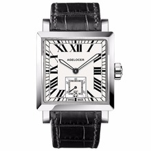 Agelcoer Luxury Dress Watches for Men Steel Leather Strap Waterproof Automatic Watches Roman Numeral Markers Watches