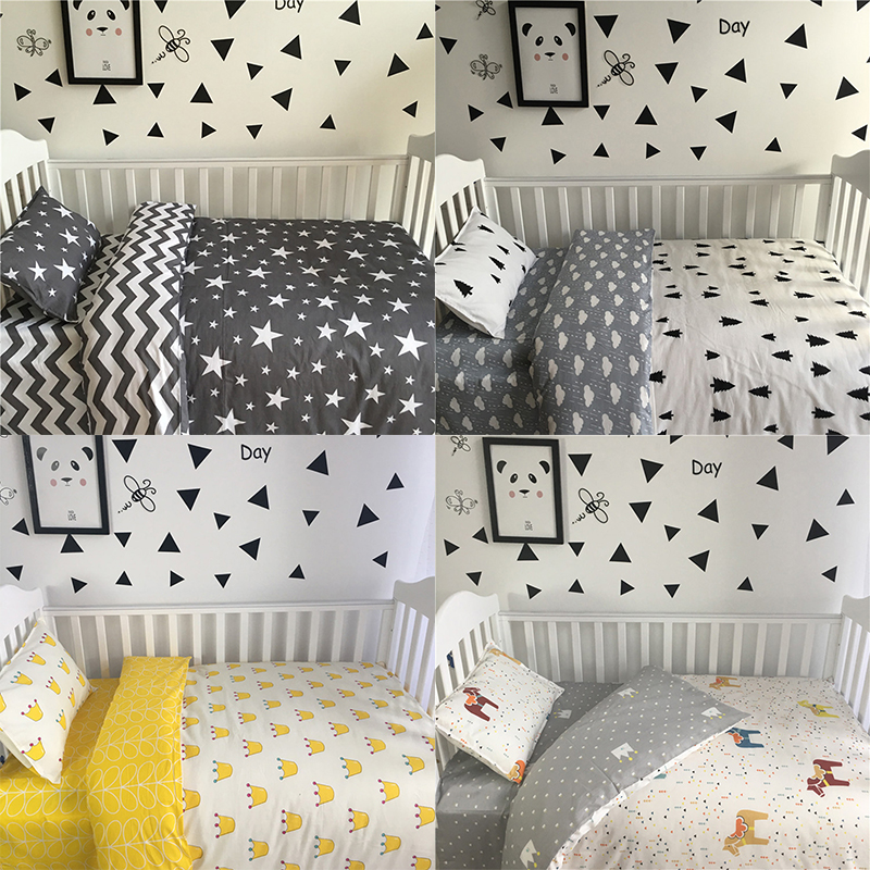 3 pcs/set Baby Bedding Set Including Duvet Cover Pillowcase Bed Sheet 100% Cotton Baby Linen Baby Crib Set For Both Girl and Boy 3 pcs set 100% cotton baby bedding set bed sheet duvet cover pillowcase fish tree pink white blue boy and girl cute beding