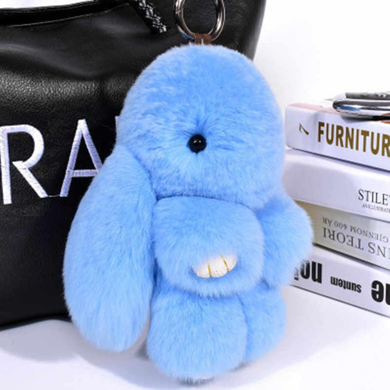 Fantasia & fantasia 18 cm coelho fofo chaveiro coelho chaveiro pele mulher bolsa saco chaveiro pom pom carro pingente chaveiro titular
