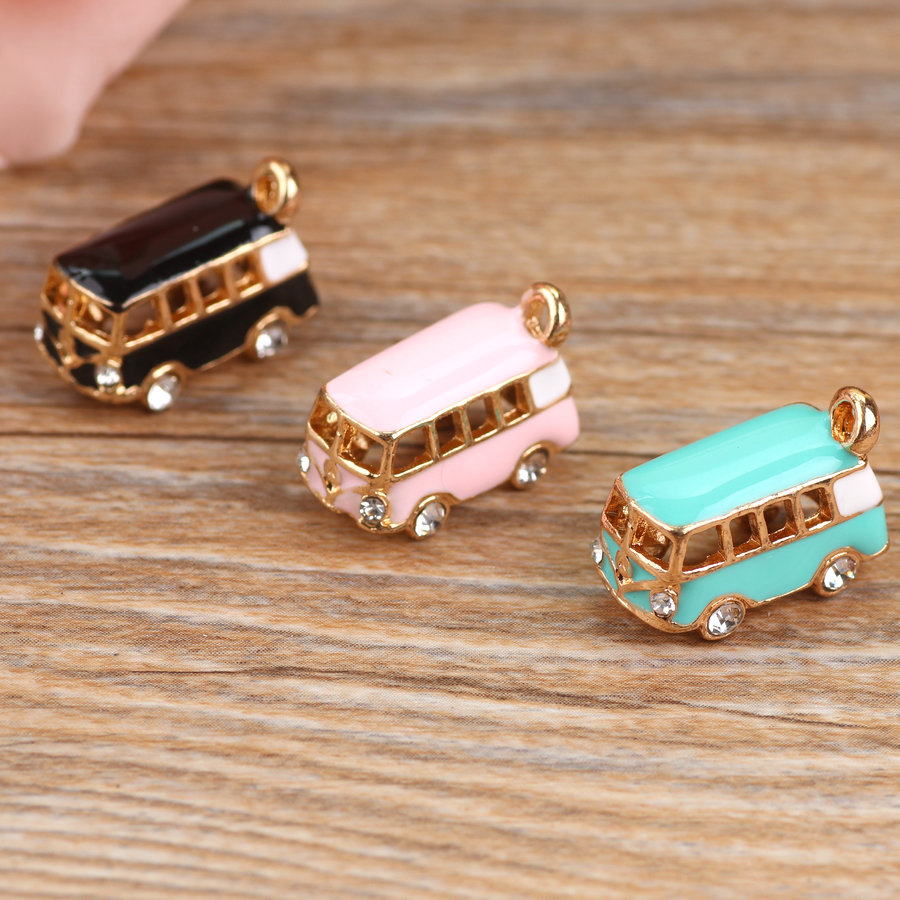 Enamel Pendant Bracelet Charms Bus Oil-Drop Lucky-Happiness Gold-Tone MRHUANG 5PCS DIY