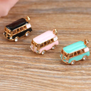 Enamel Pendant Bracelet Charms Gold-Tone Lucky-Happiness DIY MRHUANG 5PCS Bus Oil-Drop