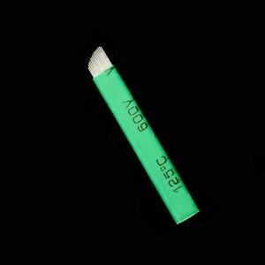 Image 5 - 0.16 millimetri Verde Nano LAMINA MICRO 12 FLEX CHANFRADA Microblading Aghi Per Tebori Microblading Permannet Penna Manuale
