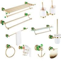 European gold green crystal hair dryer rack copper set double glass selves bathroom hardware pendant creative bathroom robe hook