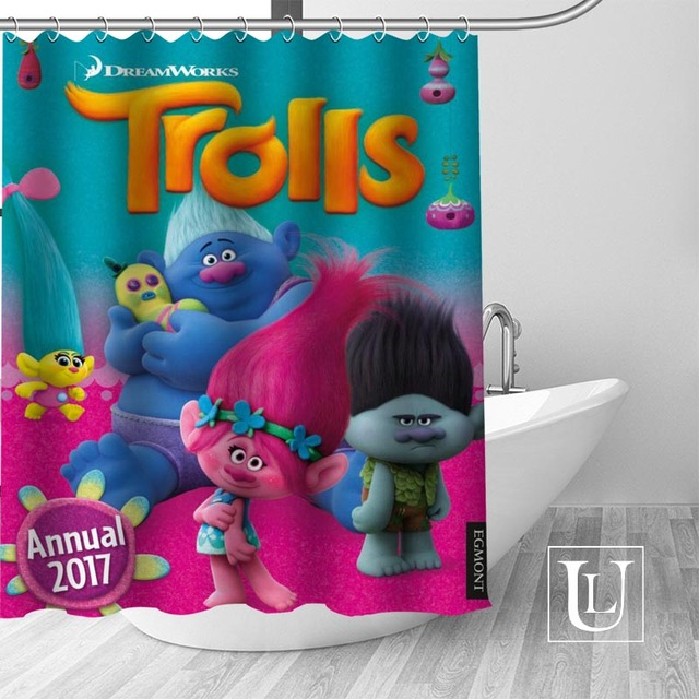 Trolls High Definition Picture Printing Shower Curtain Made Of Waterproof Polyester Fabric Enjoy Your Time With It