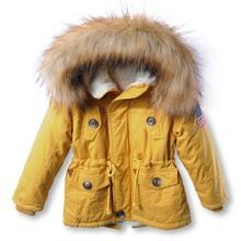 Девушки зимняя куртка с капюшоном дети мальчики зимнее пальто с капюшоном снег шерсти меховой зимняя куртка зимняя куртка мальчика для мальчика