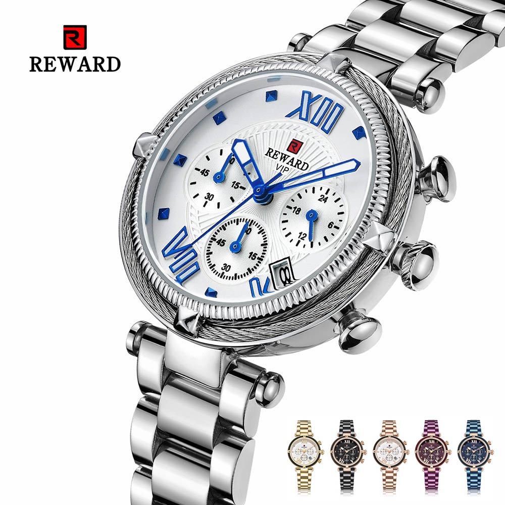 Relogio Feminino Silver Analog Quartz Wrist Watch for Women Fashion Luxury Brand relogio 2019 de luxo Multi Functional Clock Top