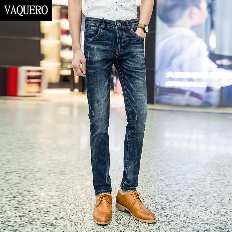 ФОТО Men's Skinny Jeans High Quality 2016 Autumn Stretch Slim Jeans Men  Moustache Washing Blue Denim Straight Legs Jeans Homme
